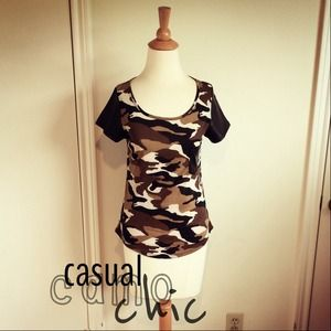 Tops - Camo Jersey Top + Faux Leather Sleeves
