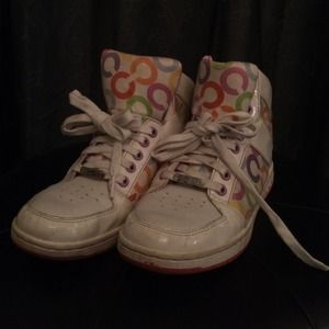 Coach Norra white multi high top sneakers