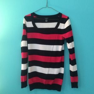 Pink Black and White Striped Sweater