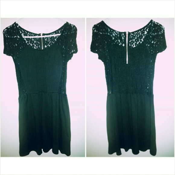 2cc12ca74797 H&M Dresses | Black Lace Skater Dress | Poshmark