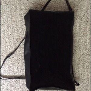 Black velvet and leather bag