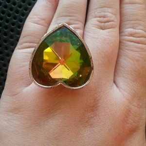 MULTICOLORED HEART RING (SIZE 10)