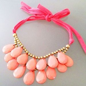 Coral Teardrop Statement Necklace