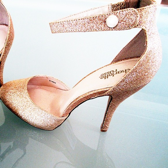 Charlotte Russe Shoes - Gold Glitter Heels