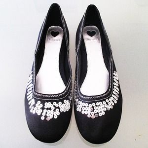 Black, Sequin Detail Flats