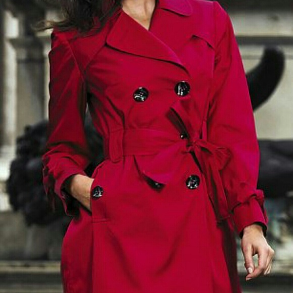 Jackets Coats Sold Matalan Red Belted Satin Trench Coat Sz 6