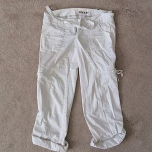 Ruehl White cotton drawstring cargo pants 2
