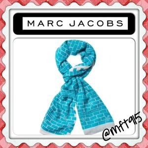 💯Authentic Marc Jacobs SCARF turquoise/white