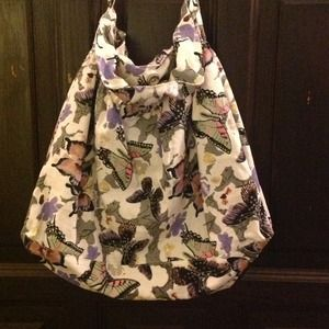 BUTTERFLY CANVAS FABRIC HOBO BAG