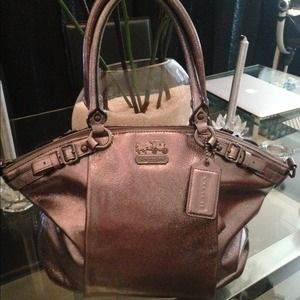 Coach Silver Leather Sophia Satchel Bag tote