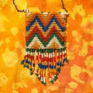 Long Beaded Pouch Necklace