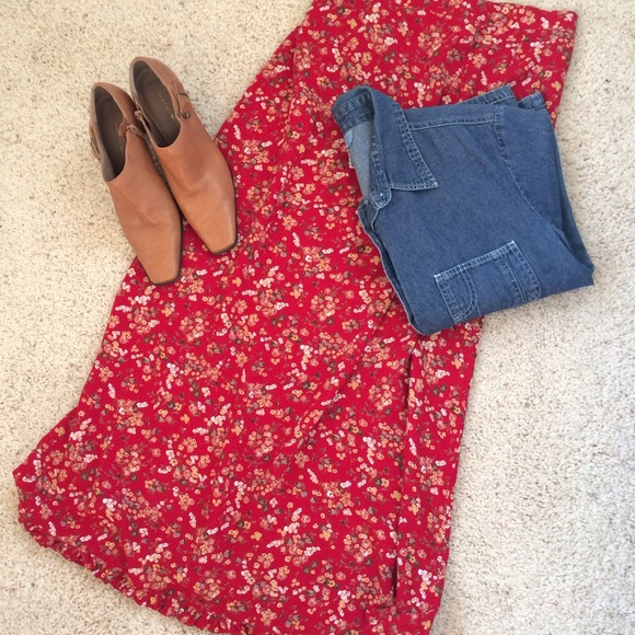 Stonebridge - Red Floral Maxi Skirt from Lisa's closet on Poshmark