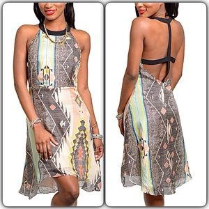 Aryn k Dresses & Skirts - 100% SILK AZTEC PRINT STRAPPY OPEN BACK DRESS