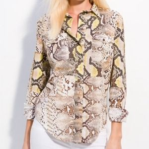Just Cavalli Python-patterned stretch cotton shirt