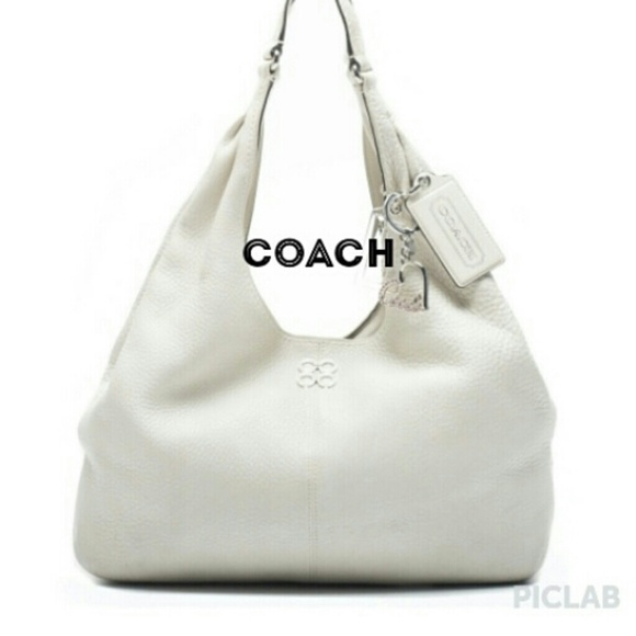 83% off Coach Handbags - FLASH SALE Coach white leather handbag 3 ...