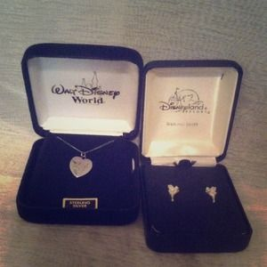 Sterling silver Tinkerbell necklace & earrings