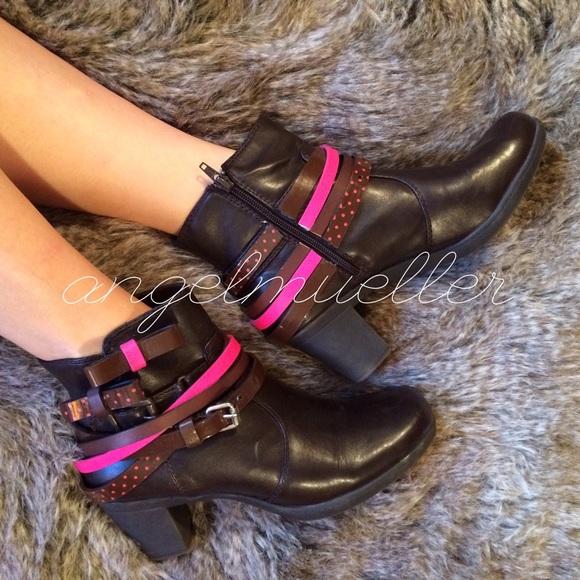 Booties and brown peep toe Mary Jane heels