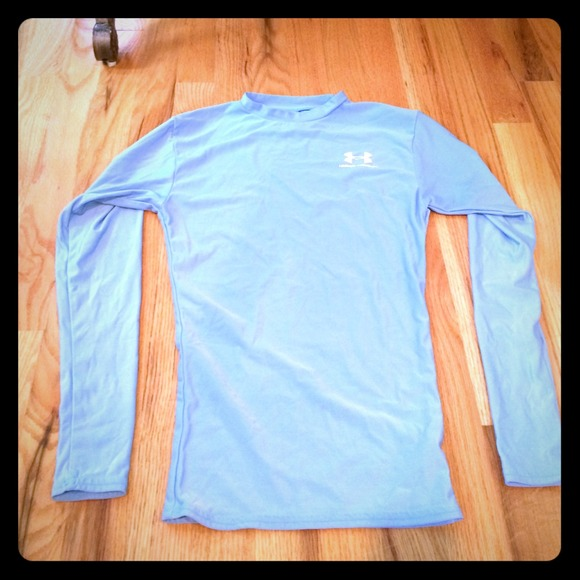 83 off under armour outerwear baby blue under armour for Under armour dri fit long sleeve shirts