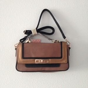 Brown vegan leather crossbody