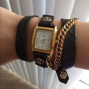 La Mer handmade leather chain wrap watch