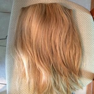 Blonde hair extension with clips real hair