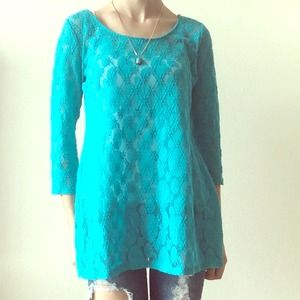 ⬇️PRICE REDUCED⬇️LACE KNIT BLUE TOP