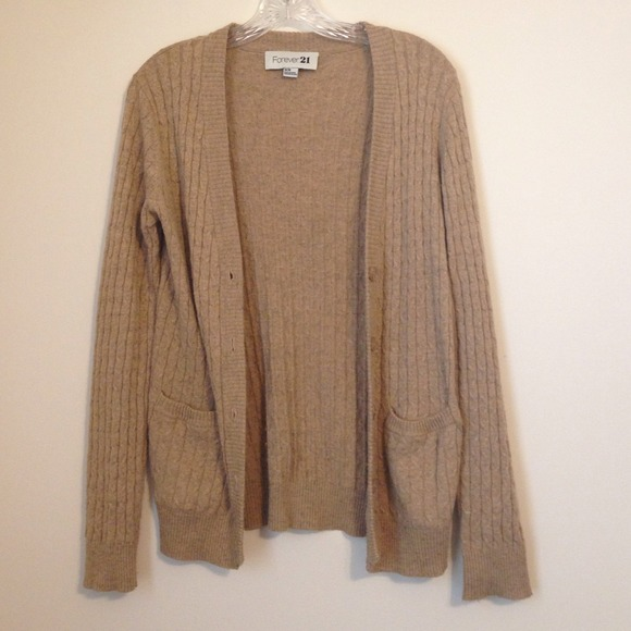 56% off Forever 21 Outerwear - Tan cable knit cardigan from ...