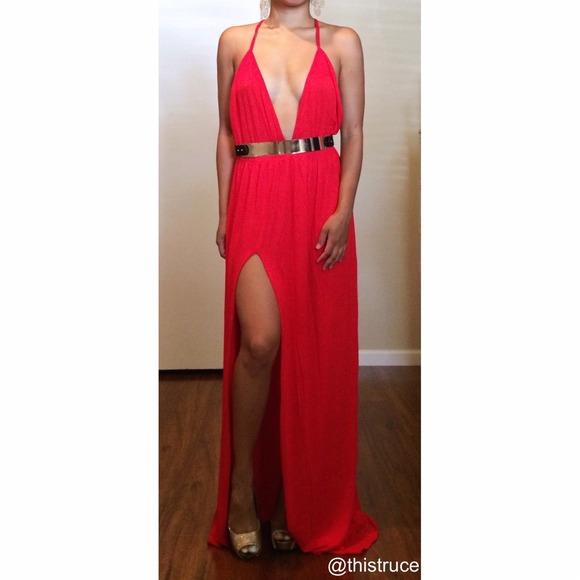 Slit Leg Plunge Sabo Like V Line Maxi Dress Red NWT