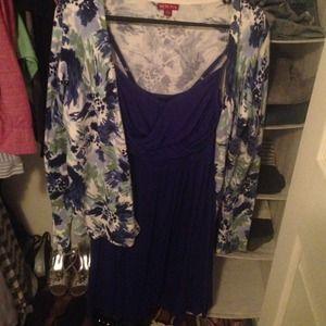 Dark blue dress and watercolor cardigan.