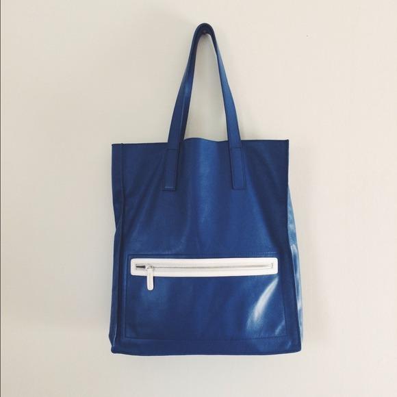 Raoul Handbags - Raoul Cobalt Blue  White Leather Tote Bag