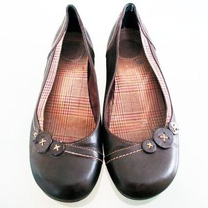 Brown Button Detail Flats