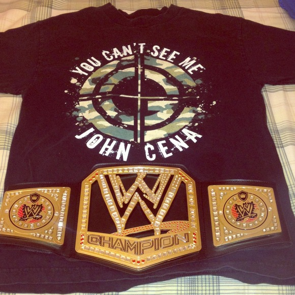 28697300 WWE Tops | The Champ Is Here Cena Shirt And Title | Poshmark