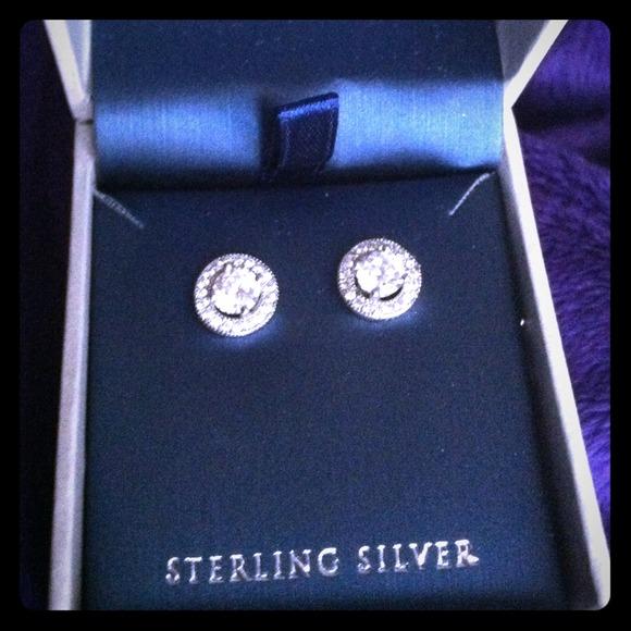 f28229837 Jewelry | Contessa Di Capri Sterling Silver Halo Studs | Poshmark