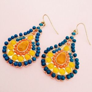 Orange, teal and gold teardrop earrings