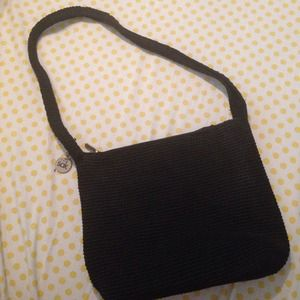 ... Sak black crochet purse The Sak Black Crochet Barrel Shoulder Purse