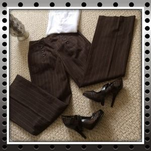 Chocolate Brown & White Pinstripe Sailor Pants