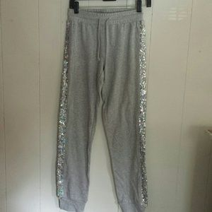 Grey jogger pants with sequins