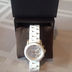 Michael Kors Women's White & Gold Tone Watch