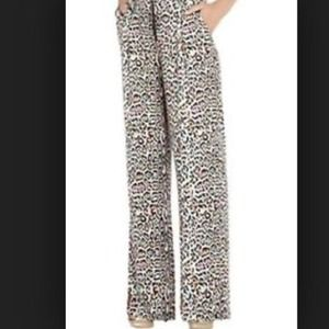 Bcbg lovey animal print wide silk pants