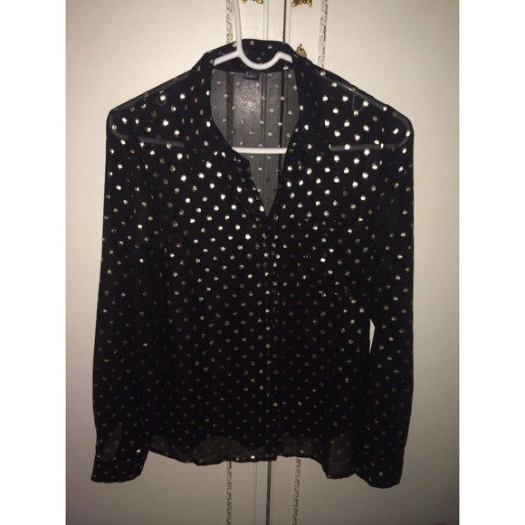 50% off Forever 21 Tops - Forever 21 black and gold polkadot ...