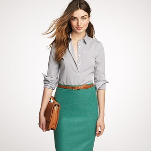 64% off J. Crew Dresses & Skirts - J. Crew Green Pencil Skirt from ...