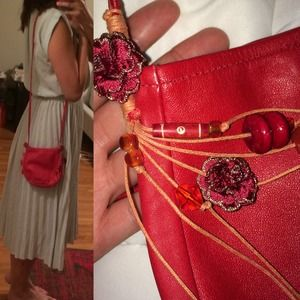 Handbags - Red leather cross body shoulder bag from bali
