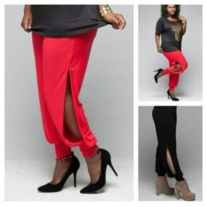Pants - Plus Size Red Side Slit Jeannie Pants