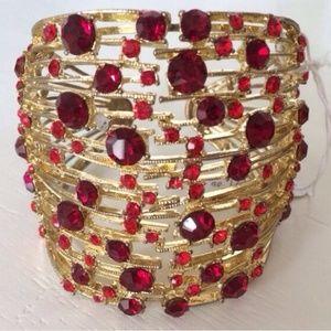 Ruby jeweled cuff