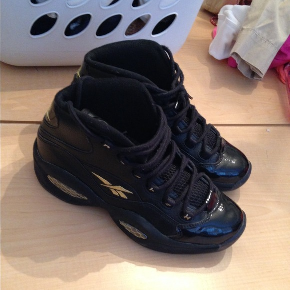 reebok shoes reebok question mid black and gold 2