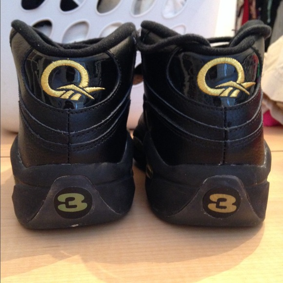 73 reebok shoes reebok question mid black and gold