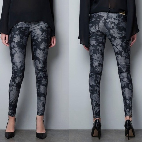 41% off Zara Denim - zara // floral printed skinny jeans • black ...