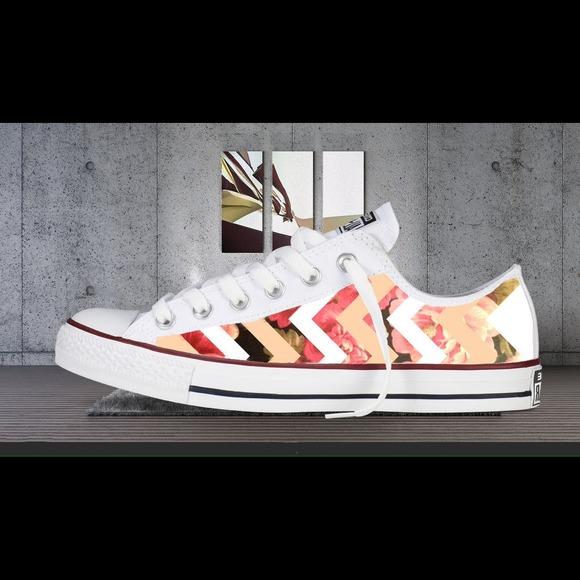 Converse Shoes - Chevron Floral Printed Converses / Chuck Taylor's