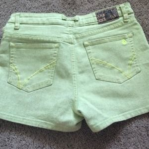 Volcom neon green, high waisted shorts
