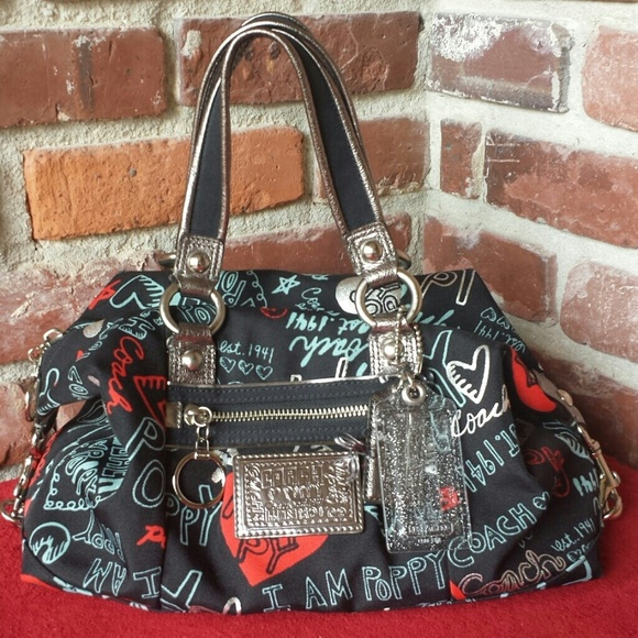 7b5c205c4c ... czech authentic coach poppy black heart luxey handbag 62cb6 92a33 spain coach  patent leather ...